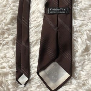 Christian Dior Neck Tie In Brown With Stripes